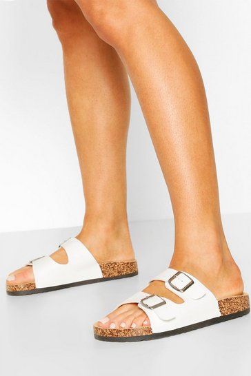 White Double Buckle Footbed Sliders