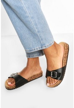 Black Single Strap Footbed Sliders