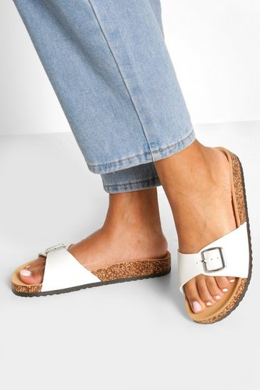 White Single Strap Footbed Sliders