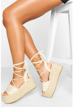 Wrap Up Strap Raffia Flatforms, Nude
