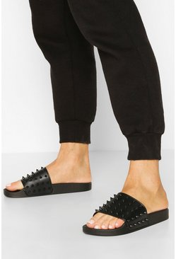 Studded Pool Sliders, Black