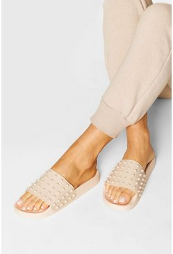 Nude Studded Pool Sliders