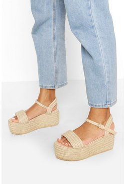 Single Strap Raffia Flatforms, Natural