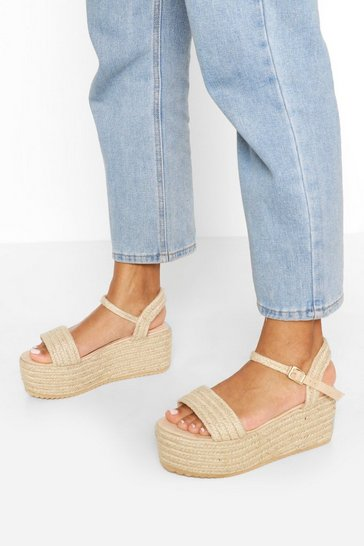 Natural Single Strap Raffia Flatforms