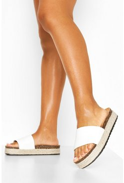 White Croc Single Strap Footbed Slides