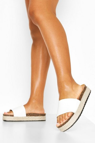 White Croc Single Strap Footbed Sliders