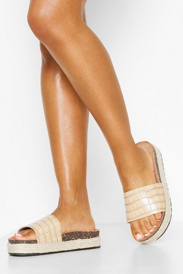 Nude Croc Single Strap Footbed Sliders