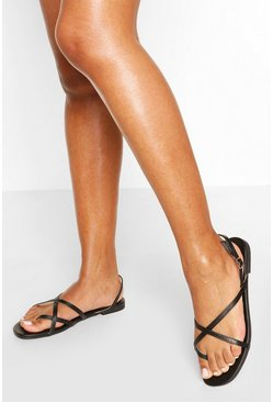 Cross Strap Basic Sandals, Black