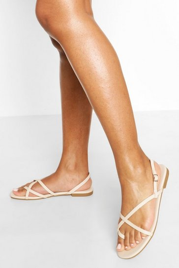 Nude Cross Strap Basic Sandals