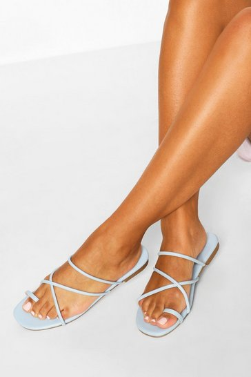 Blue Toe Post Strappy Sandals