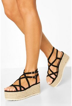 Super Strappy Raffia Flatforms, Black