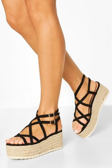 Black Super Strappy Raffia Flatforms
