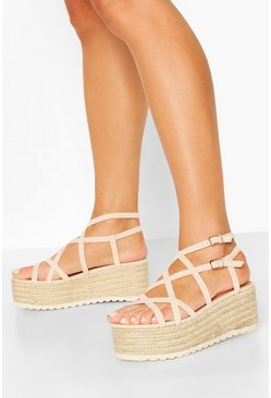 Nude Super Strappy Raffia Flatforms