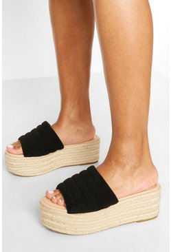 Padded Strap Raffia Flatforms, Black