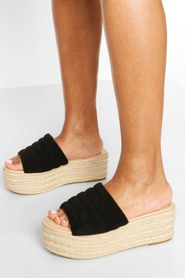 Black Padded Strap Raffia Flatforms