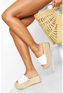 Padded Strap Raffia Flatforms, White