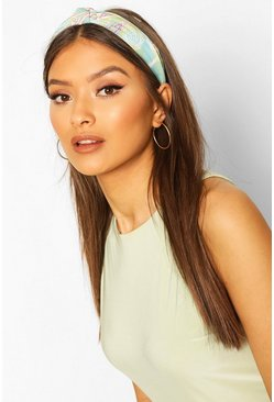 Mint Paisley Print Twist Knot Headband