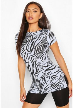 Blue Animal Print Longline Rib Top