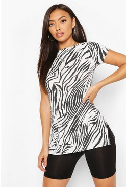 White Animal Print Longline Rib Top