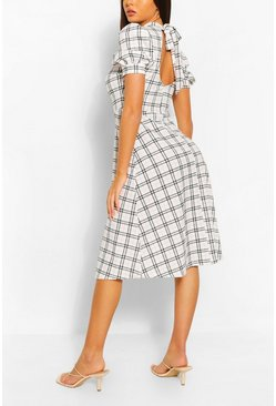 Contrast Check Midi Dress With Open Back, White