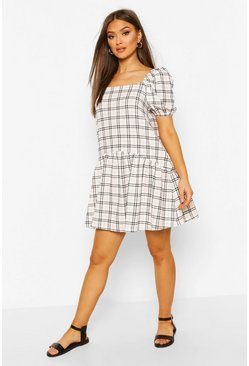 White Contrast Check Smock Dress