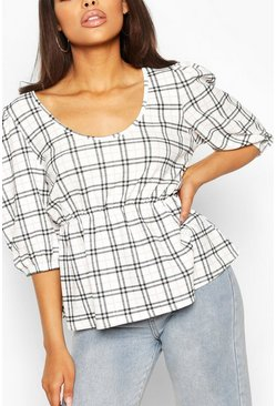White Contrast Check Smock Top