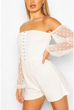 Ivory Hook & Eye Playsuit With Spot Mesh Sleeves