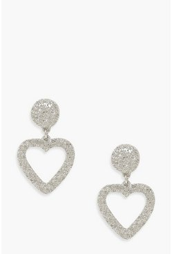 Silver Textured 4cm Heart Statement Earrings