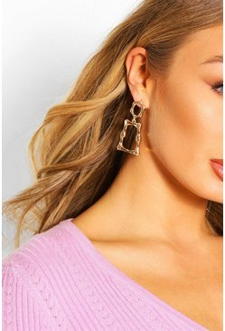 Bamboo Door Knocker Statement Earrings , Gold