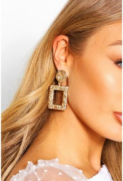 Spiral Door Knocker Statement Earrings , Gold