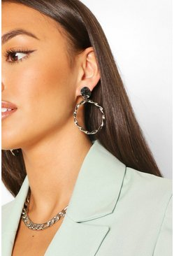 Silver Hammered Twisted Circle Statement Earrings