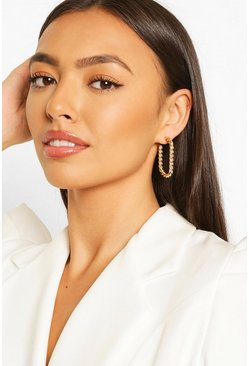 Round Rectangle Twist Hoop Earrings , Gold