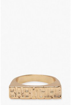 Gold Babygirl Statement Ring