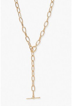 Gold T-Bar Plunge Necklace