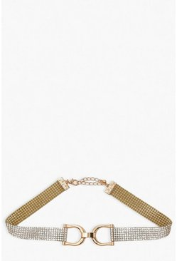 Gold Buckle Detail Diamante Choker