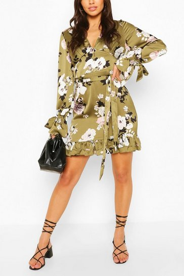 Khaki Floral Print Plunge Ribbon Tie Mini Dress
