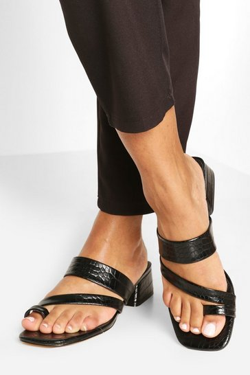 Black Low Block Toe Post Mules