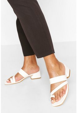 White Low Block Toe Post Mules