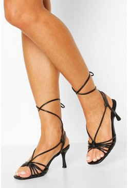 Black Multi Strap Low Heel Sandals