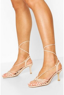 Nude Multi Strap Low Heel Sandals