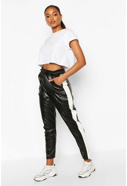 Black Leather Look Sports Stripe Panel Pants