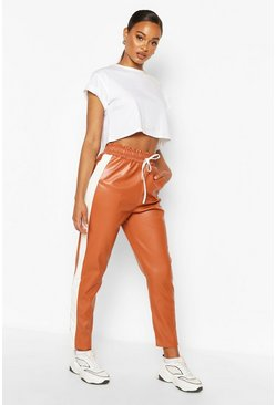Tan Leather Look Sports Stripe Panel Trouser