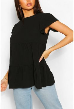 Black Tiered Fril Detail Smock Top