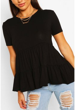 Black Tiered Smock Top