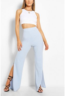 Baby blue Side Split Wide Leg Crepe Trouser