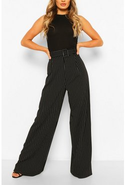 Black Pinstripe Belted Wide Leg Trouser