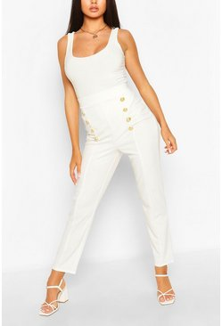 Ivory Button Front Straight Leg Trouser