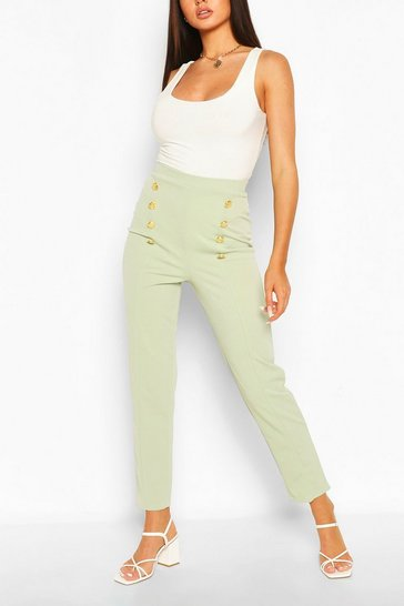 Sage Button Front Straight Leg Trouser