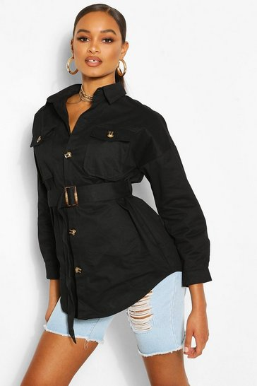 Black Belted Button Utility Jacket