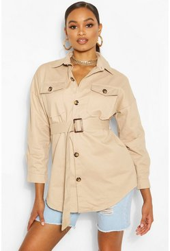 Stone Belted Button Utility Jacket
